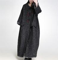 Yesno JW7 Women Long Loose Wool Jacket Coat Warm Outwear Plus Size Big Flap Packets Wide Sleeve Fringed Handmade Buttons