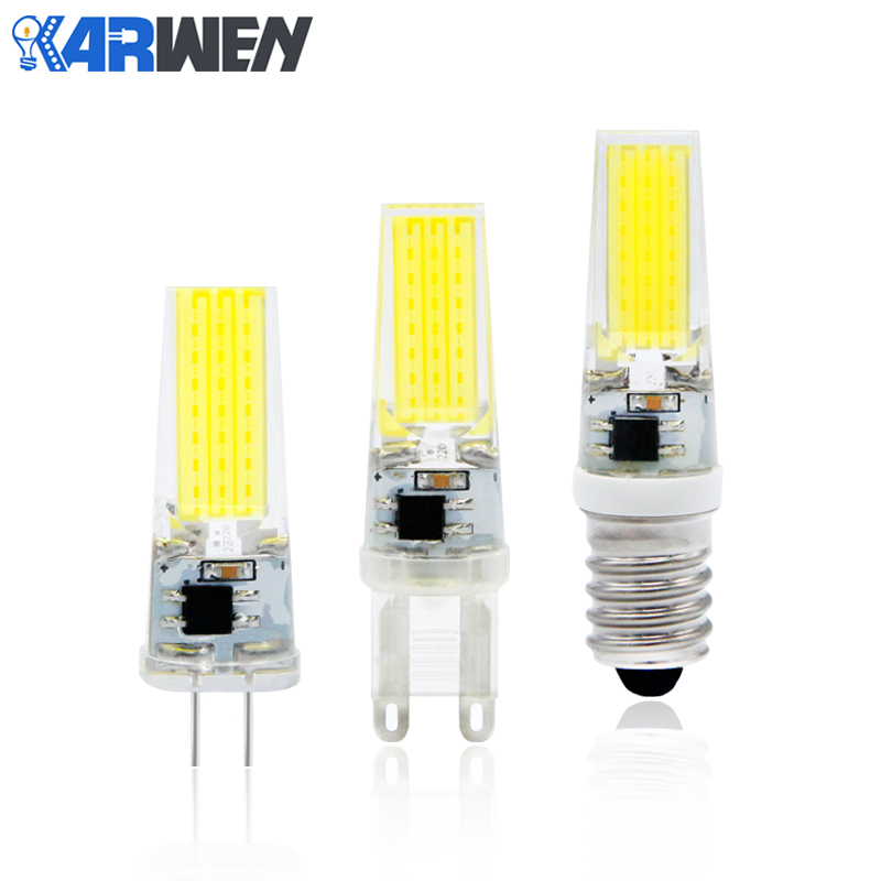 KARWEN COB G4 G9 E14 LED Bulb 3W 6W 9W 12V AC/DC 220V AC Dimmable lampada LED Bulb Replace Halogen Lamp For Chandelier hotook 12v car led bulb dimmable g4 g9 e11 e12 e14 e17 gy6 35 t10 ba15d ampoule 24v 110v 220v 60w equivalent boat lamp 2pcs