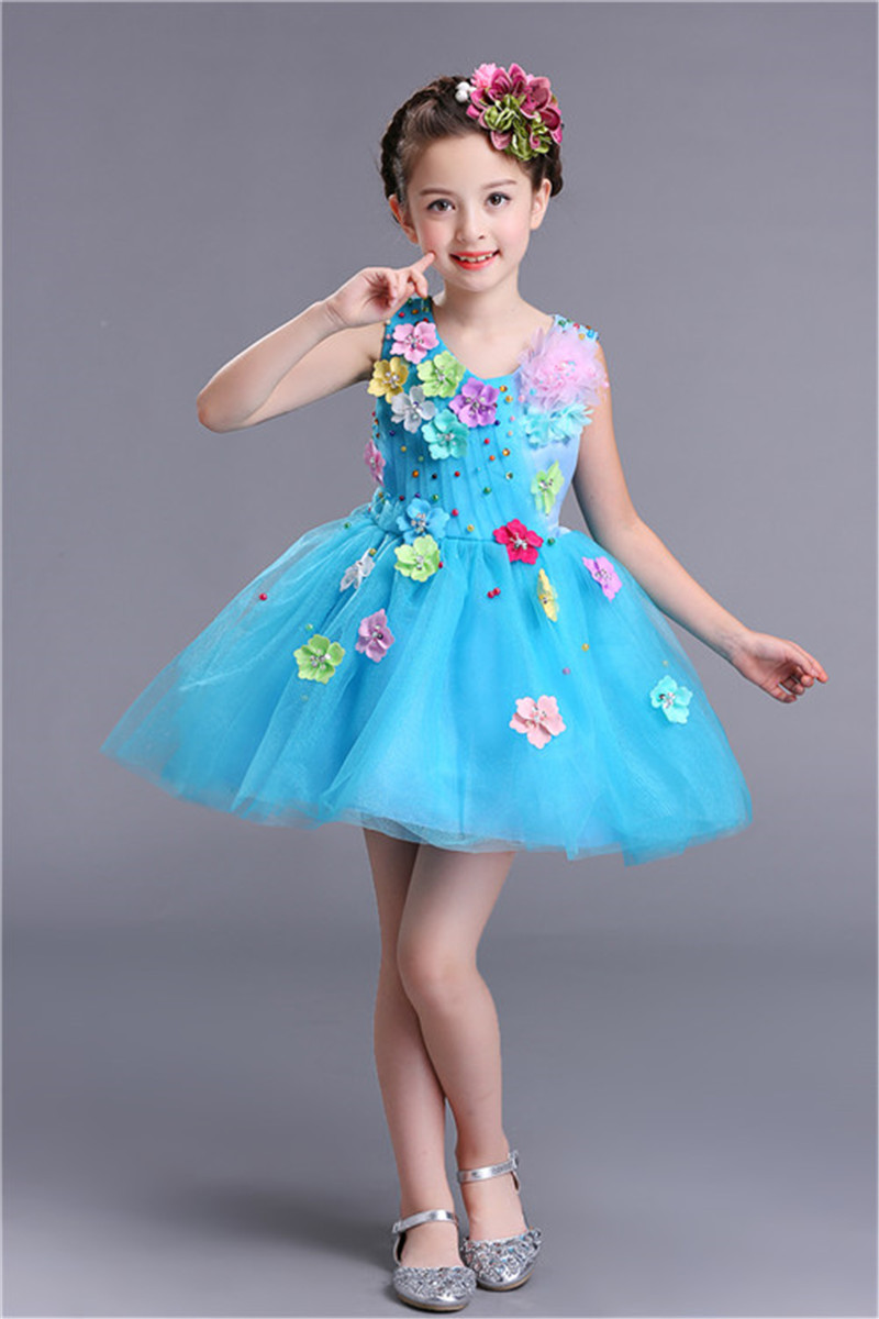 Fluffy Blue Yellow Girls Costume Birthday Party Dress Tulle Colorful ...