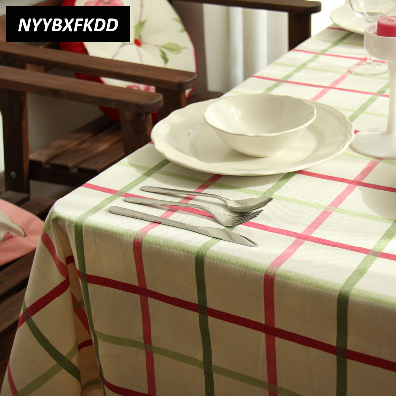 Red Green Plaid Pink Flower Cotton Linen Table Cloth Banquet Outdoor TableCloth Nappe Table Cover Overlay