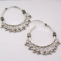 Silver EXCLUSIVE ETHNIC dangle Earrings 4.4CM JEWELRY