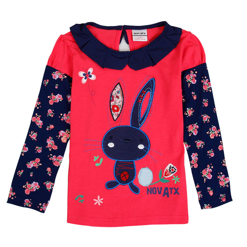 novatx F6569 retail baby girl clothes baby kids girl long sleeves t shirt hot sale new arrival children kids casual wear