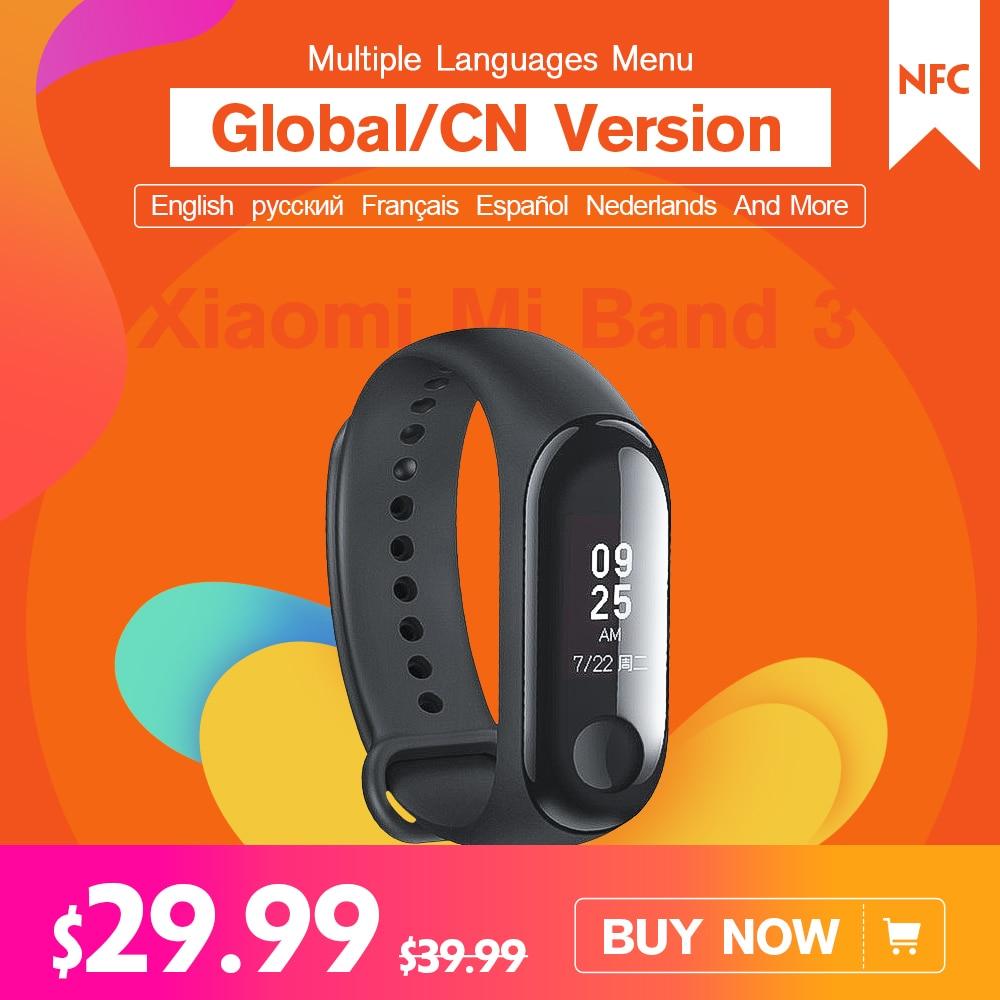 Mondiale CN NFC Version Multi Langues Russe Anglais Espagnol Français Menu Xiao mi mi bande mi bande 3 Bracelet Smart bande Bracelet