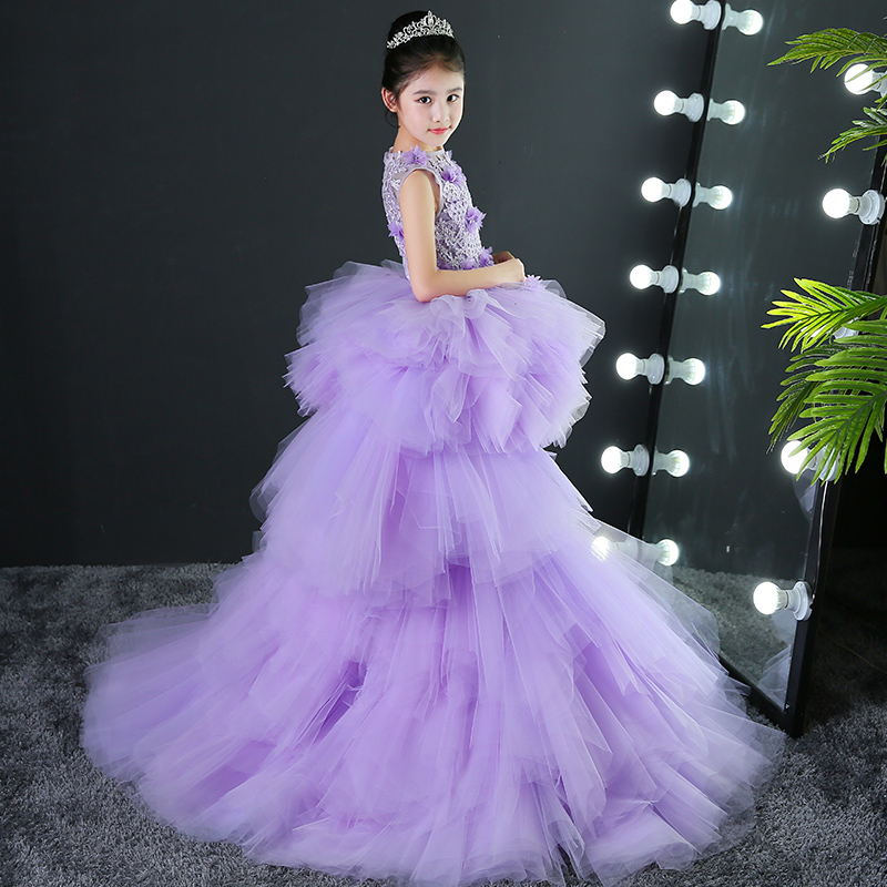Royal Purple Holy Communion Dress for Girls Ball Gown Removable Long ...
