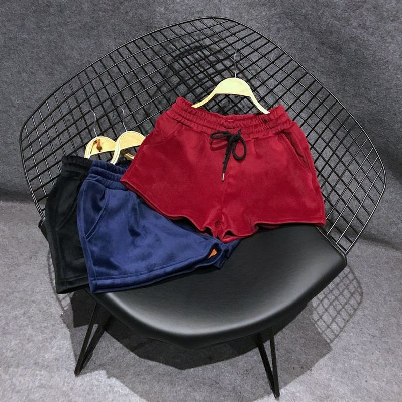 New Fashion High Quality Women's Winter Red/Blue/Black Shorts Casual Gold Velvet Shorts Women Warm Thermal Female Street Storts
