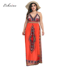 Echoine Backless Dress Women Halter Lace Up Sleeveless Sexy Low Cut Printed Loose Plus Size Maxi Vintage Vestido Beach Outfits low cut lace halter backless teddy