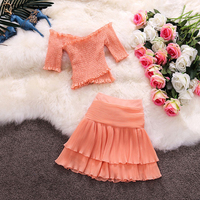 wreeima Woman Slash neck Collar Short Blouse Cake Skirt Set