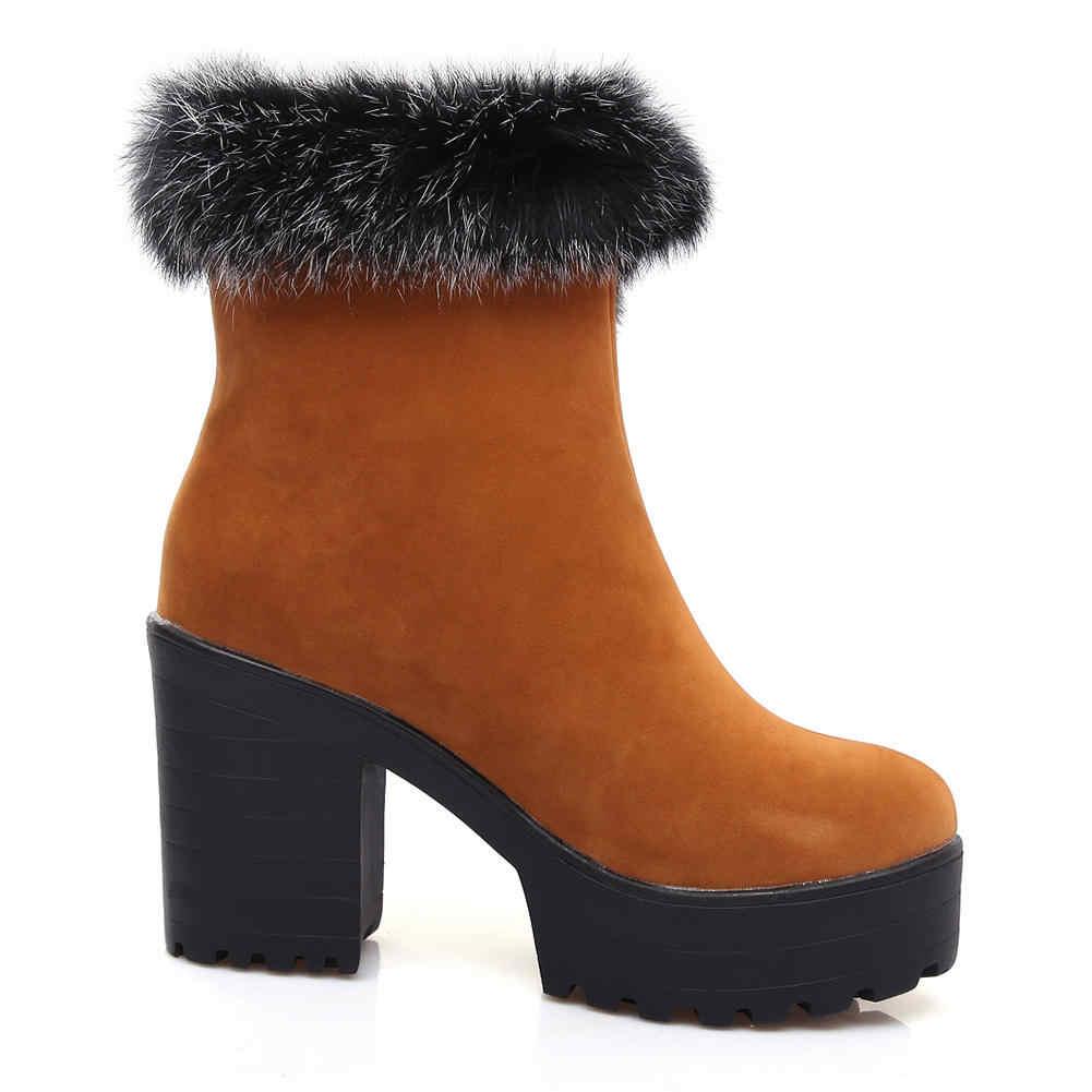 SARAIRIS/Новая модная однотонная обувь на платформе с круглым носком на высоком квадратном каблуке, большие размеры 34-46 Женские повседневные зимние ботинки