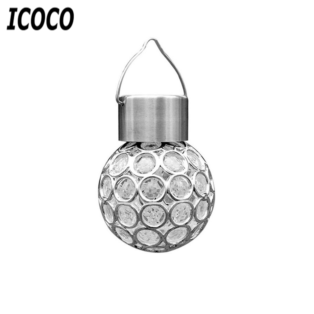 ICOCO 8cm Solar Hanging Light Mini LED Color Change Ball Garden Hanging Lamp Outdoor Landscape Yard LED Lamp Walkway Decorate