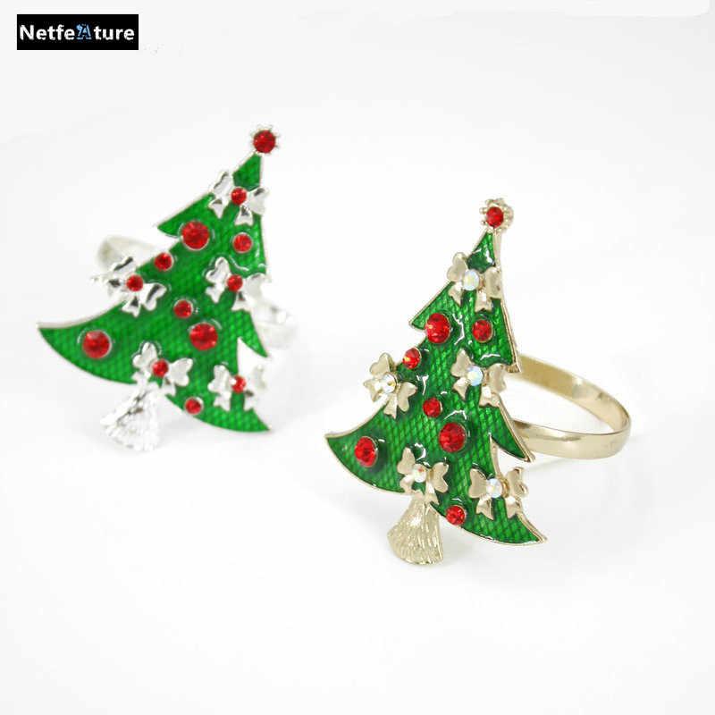 Christmas Tree Napkin Rings.Free Shipping Green Christmas Tree Napkin Rings Golden Silver Metal Material Napkin Holder For Christmas Restaurant Hotel 6pcs