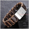 "8.66""*19mm 29g Top Design Men's Bracelet Bangle Brown Braided Leather Stainless Steel Magnetic Clasp Silver Fashion Jewelry"