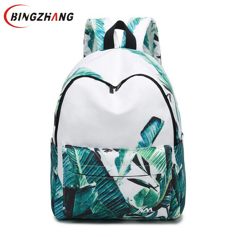 Fashion Printing Women Backpack Beautiful Leaves Big School Bags For Girls Multifunction Female Travel Canvas Backpacks L4-3104