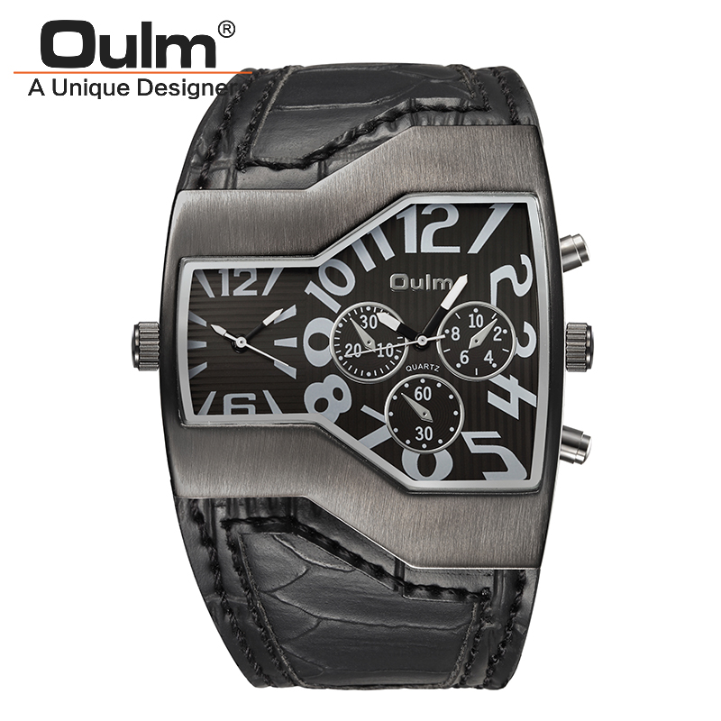 Oulm Military Watches Men Luxury Brand Leather Quartz Watch Man Two Time Zone Sport Male Clock relogio masculino Dropshipping