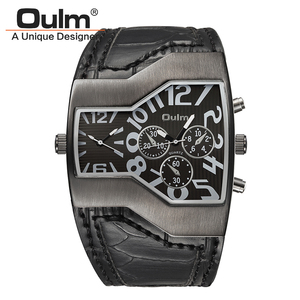 Image 2 - Oulm relógios militares masculinos, relógio de quartzo de couro, homem, dois fusos horários, relógio esportivo, masculino, dropshipping