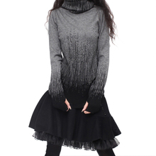 Women S Gradient Black Blue Vintage Cashmere Sweater Turtleneck Thick Sweaters And Pullovers Female Warm Jumpers