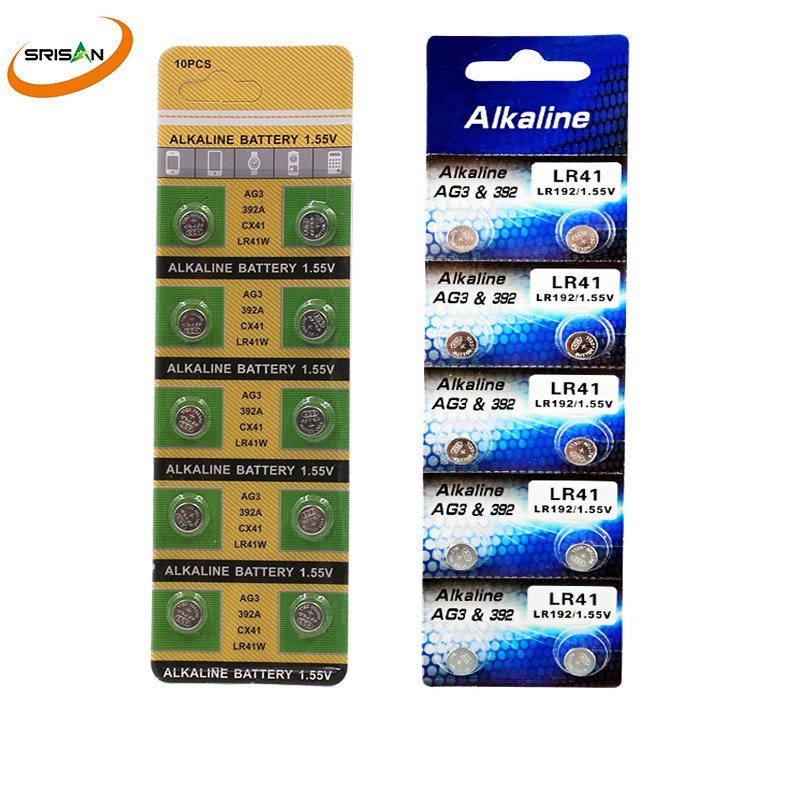 10pcs /1card AG3 AG3 392A SR41SW 384 LR736 V3GA 192 1.55V Button Coin Cell Battery Batteria For Watch Clocks Laser Pointer Torch cell batteries lr41 ag3 100 pack