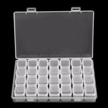 hot deal buy 28 grids empty nail art decoration storage case box nail glitter rhinestone crystal beads accessories container nail tool clear