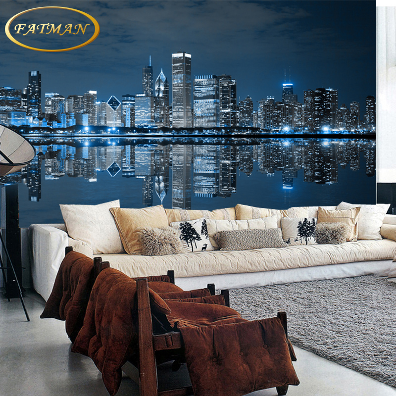 Custom 3D photo wallpaper City night wallpaper Modern mural wallpaper for living room TV background mural papel de parede beibehang custom papel de parede 3d photo wallpaper living room bathroom floor stickers waterproof self adhesive wallpaper mural