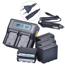 7.2V 7200mAh 4Pcs NP-F970 NP-F960 NPF960 NPF970 battery + 1 Ultra Fast 3X faster Dual Charger for Sony HVR-HD1000 Batteries