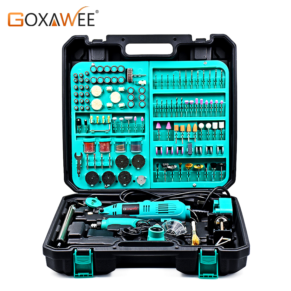 GOXAWEE Electric Drill Dremel Engraving Pen Rotary Tool Variable Speed Mini Drill Grinding Machine With Power Tools Accessories