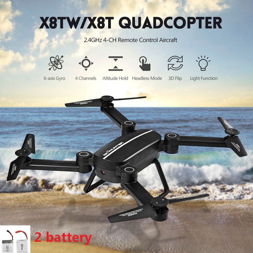 X8T X8TW RC Drone Foldable With Wifi FPV 0.41MP HD Camera 2.4G 4CH 6-Axis Gyro Quadcopter Altitude Hold Dron VS XS809W 2 Battery jmt cg030 foldable 0 3mp camera drone wifi fpv 6 axis gyro altitude hold headless rc quadcopter mini drone app control rc dron