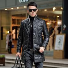 2016 winter jackets mens motorcycle slim stand collar men's leather down coat single-breasted fashion warm modern urban M – 4XL