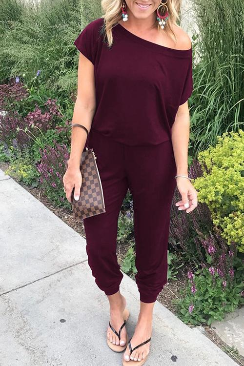 Solid Casual Sexy Off Shoulder Short Sleeve Women Suit 2019 New Arrival Women Summer Fashion Slim Elegant Long Rompers Female 29