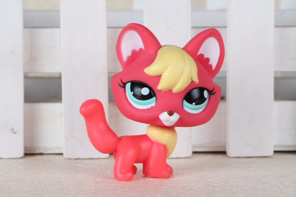 New pet Genuine Original LPS #2642 Hot Pink Yellow Fox Blue Eyes Kids Toys lovely pet collection lps figure toy black yellow short hair siamese cat blue eyes nice gift kids