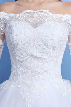 Korean Lace Half Sleeve Boat Neck Wedding Dresses 2019 New Fashion Elegant Princess Appliques Gown Customized Bridal Dress D09 7