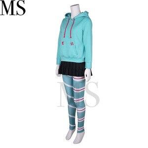 Image 4 - Wreck it ralph cosplay traje vanellope von schweetz jogo anime hoodies peruca saia meia calça hairband para crianças menina feminino