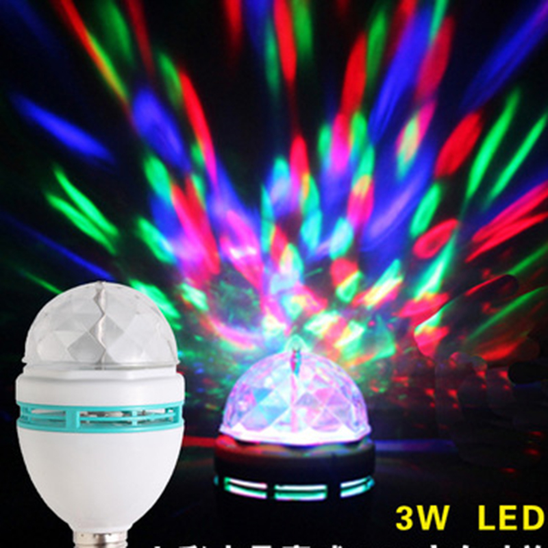 E27 3W Colorful Auto Rotating RGB LED Bulb Stage Light Party Lamp Disco for home decoration lighting lamps S45