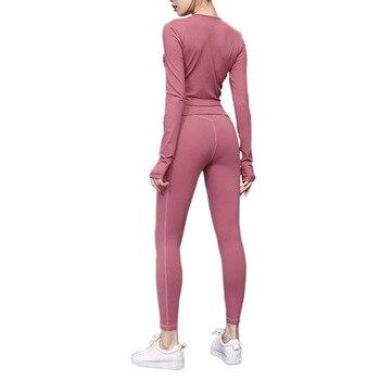 Traje deportivo de Yoga para mujer con sensación de desnudo de 8 colores, leggins para correr con Kiss Skin + Tops de manga larga, acrílico de manga larga