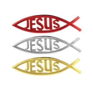 Car styling Jesus Fish Symbol Logo Car Emblem Badge Sticker Decal Universal 3D Christian Car & Truck Decorative Sticker