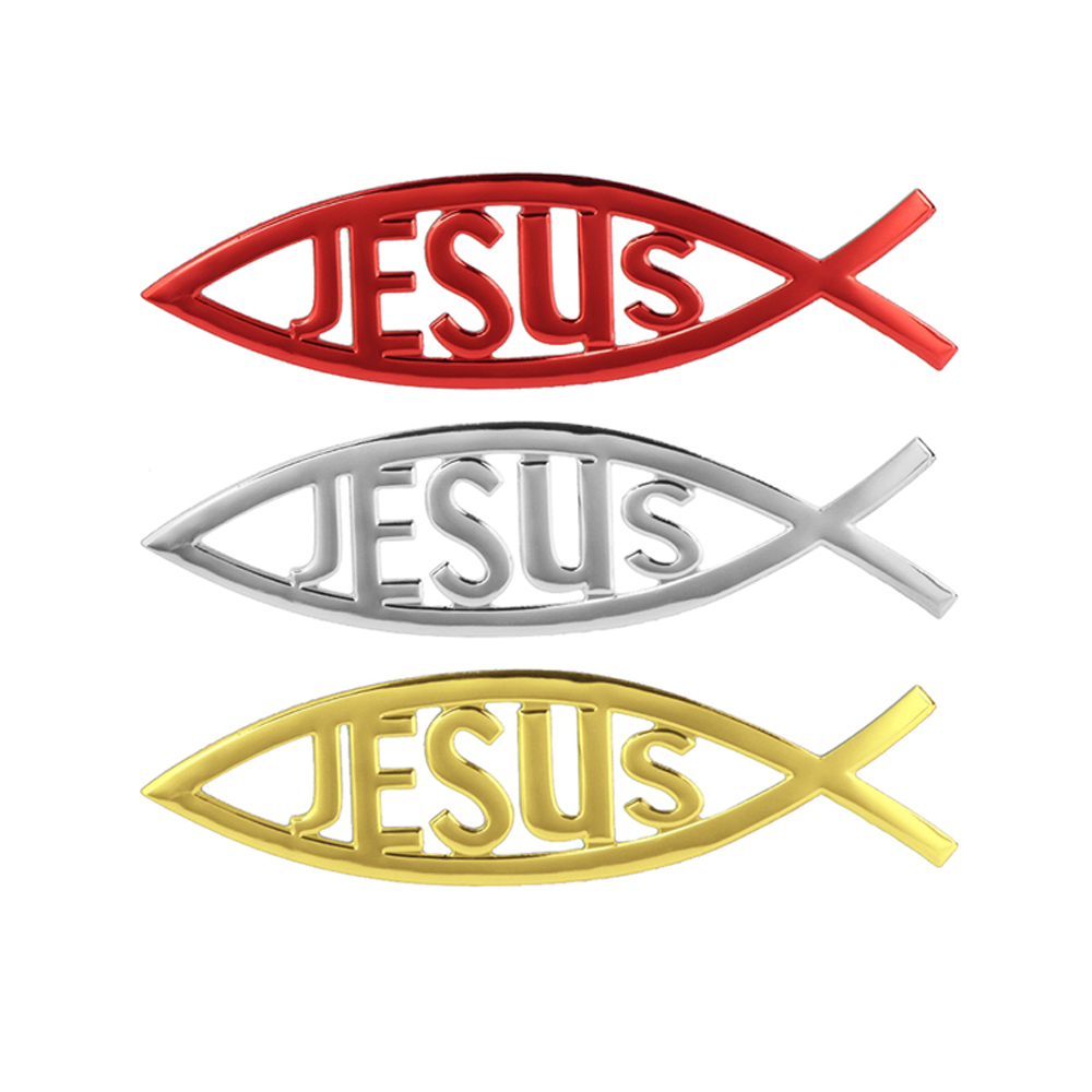 Universal 3d Christian Jesus Fish Symbol Logo Car Emblem Badge