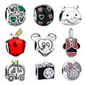 High Quality 100% 925 Sterling Silver Mixed Cartoon Designs Beads Charm Charms Fit Original Pandora Bracelets & Bangles Gift