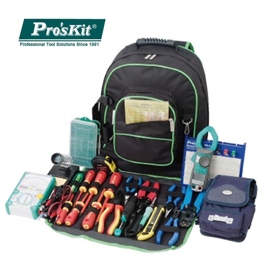 Pro'skit 9ST-307 Multipurpose Double Shoulders Tool Bag Electrician Toolkit Universal Travel Bag Big Storage Repair Backpack