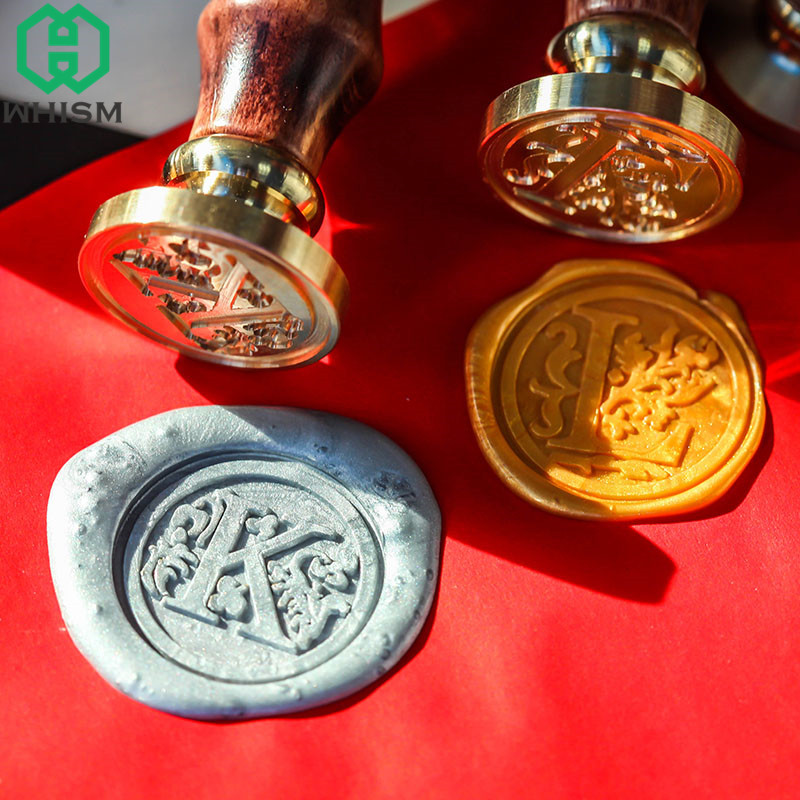 WHISM Wedding Decorative Sealing Wax Stamps 26 Alphabet Letter Wax Seal Stamp Classic Wooden Handle Scrapbooking Vine Stamp