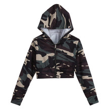 Camouflage Print Women Long Sleeve Blouse Hooded Fashion Short Sweater Lady Sexy Army Style Casual Female T Shirt Tee