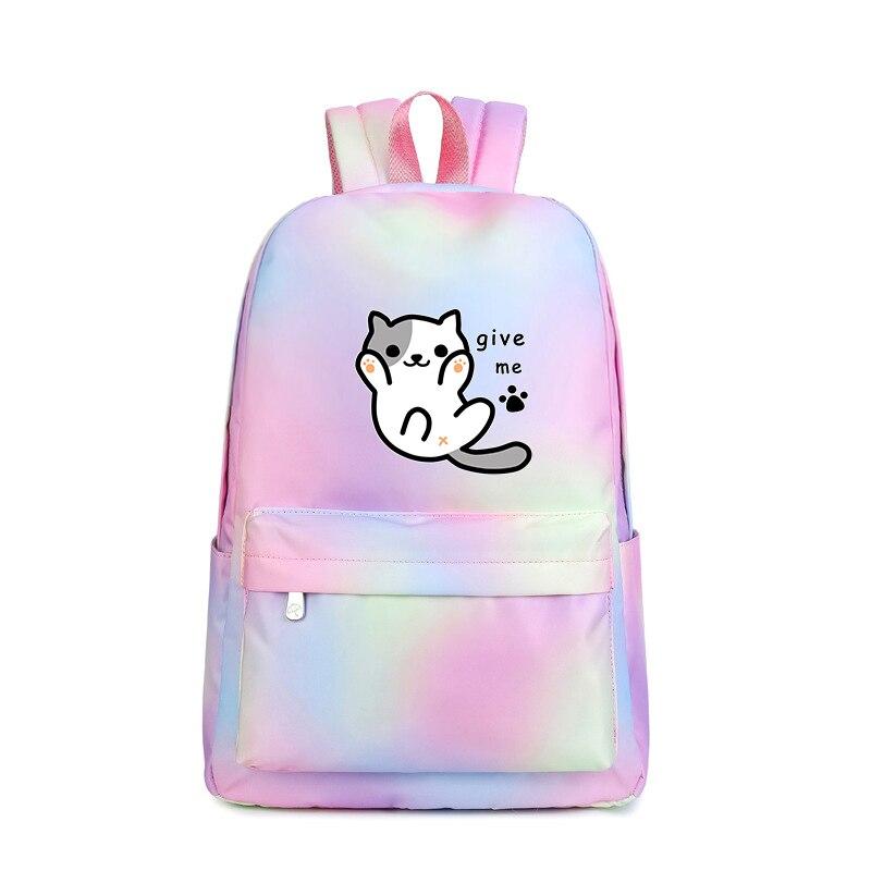 Neko Atsume Rucksack Kawaii Women Pink Backpack Rainbow Print Waterproof Cute Bagpack Canvas School Bags for Teenage Girls|Backpacks| |  - title=