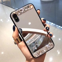 New Fashion Mirror Lovely Crystal Diamonds Rhinestone Phone Case For iphone 6 6S 7 8 Plus X XS MAX XR Mobile Shell