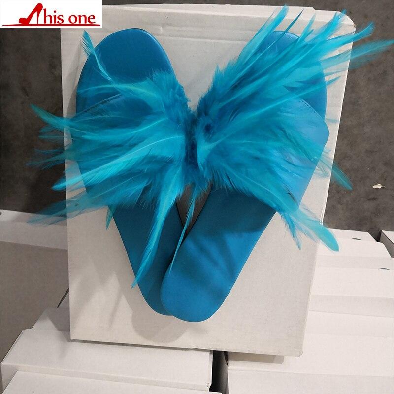 Cette marque Design grande taille 35-47 loisirs plume Top qualité plage femmes chaussures d'été chaussures plates femme pantoufles tongs - 4