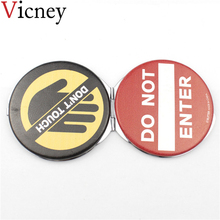 Vicney Fashion style Makeup Mirror leather Pocket Compact Folded Portable Small Round Hand for travel work