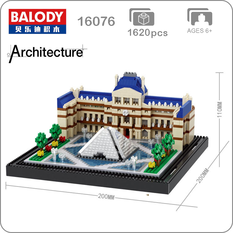 Balody 16076 World Famous Architecture Paris Louvre Museum 3D Model Micro Mini Diamond Building Small Blocks Assembly Toy no Box image