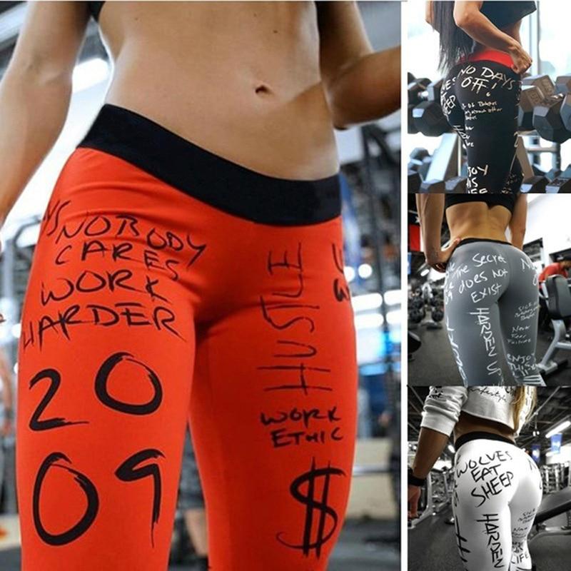 Hot Sale Letter Print Women Sexy Fitness Low Waist Leggings Sports Gym Quick Dry Elastic Pants