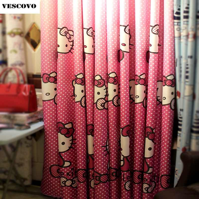 Cartoon curtains pink spot cute cat for child room princess room blackout and sheet Window Curtains/Panels