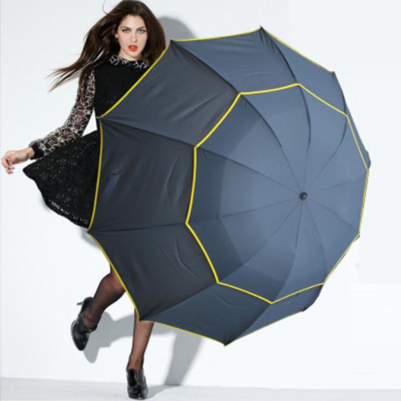 Fold Umbrella Men Women 65cm Radius Windproof Double Layer Advertising Gift Sunny and Rainy Umbrella Golf Male Travel Paraguas
