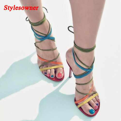 Stylesowner Summer Sexy High Heels Women Sandals Leather Cross Strappy Rome Style Colorful Strap Thin Heel Sandal Shoes Mujer цены онлайн