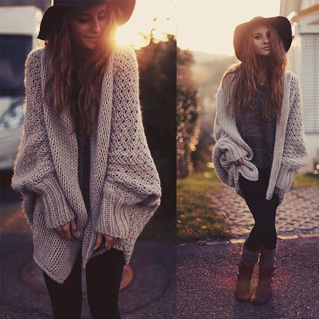 2016 Otoño La Moda Femenina Suéter Cardigan batwing hecho punto largo abrigo chaqueta de punto tricot caliente jumper prendas de punto oversize