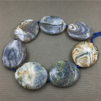 MY1245 Large Dragon Veins Agates Blue Thick Flat Oval Slice Slab Beads Pendant Necklace Jewelry Making
