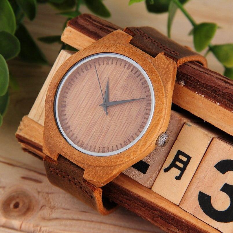Wooden Quartz PU Leather Watch Luxury Men's Women's Bamboo Wristwatches Simple S